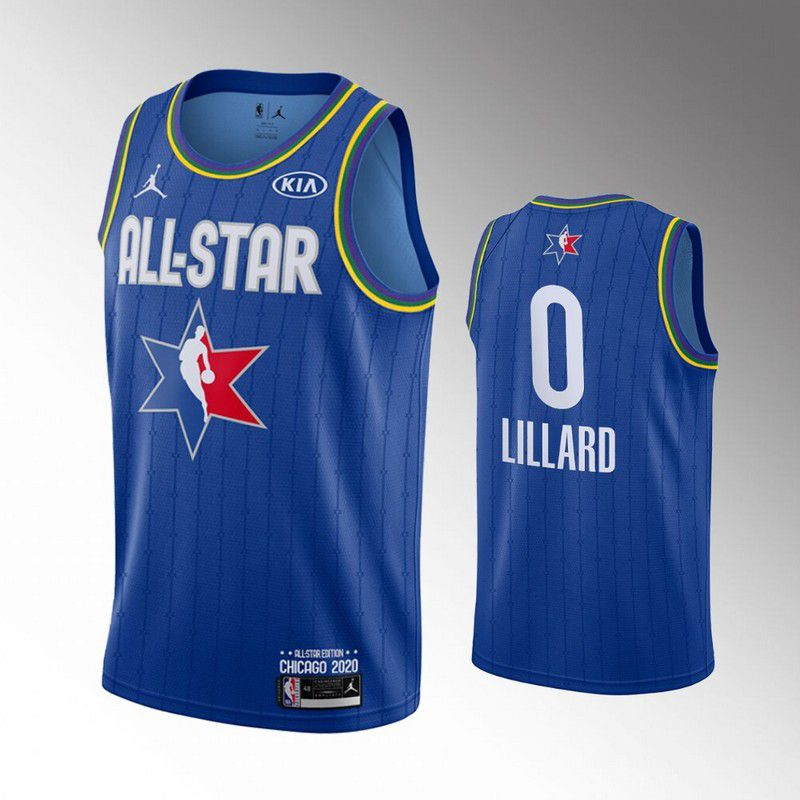 Men Portland Trail Blazers 0 Lillard Blue 2020 All Star NBA Jerseys