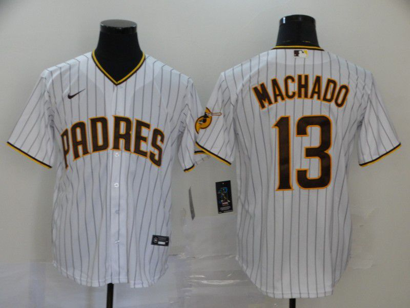 Men San Diego Padres 13 Machado White Nike Game MLB Jerseys