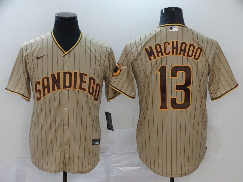 Men San Diego Padres 13 Machado brown stripes Nike Gme MLB Jerseys
