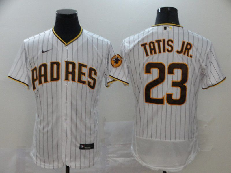 Men San Diego Padres 23 Tatis jr White stripes Nike Elite MLB Jerseys