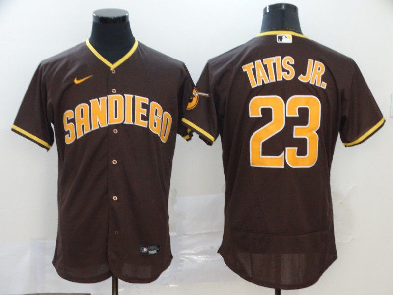 Men San Diego Padres 23 Tatis jr brown Nike Elite MLB Jerseys