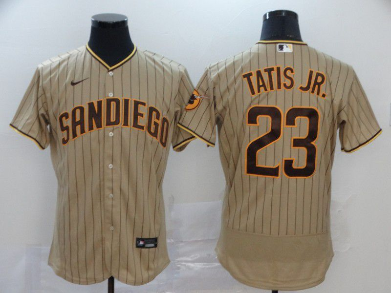 Men San Diego Padres 23 Tatis jr brown stripes Nike Elite MLB Jerseys