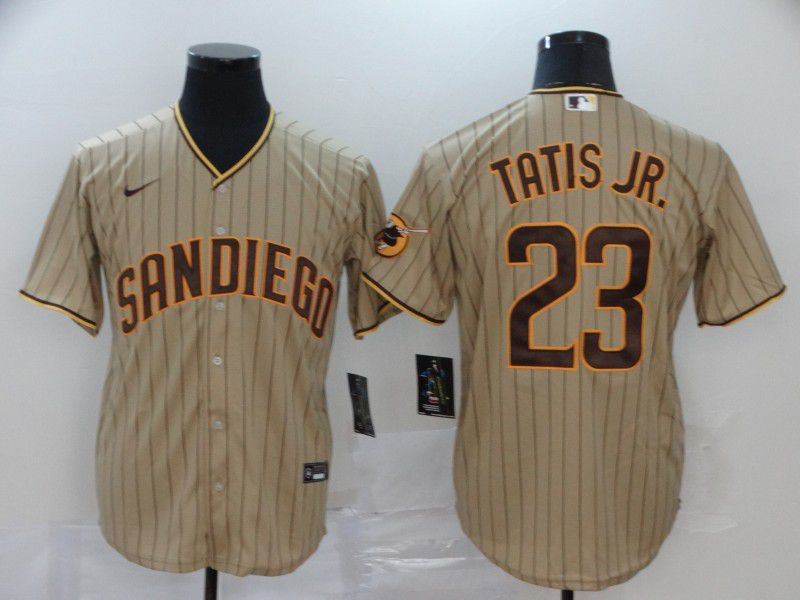 Men San Diego Padres 23 Tatis jr brown stripes Nike Game MLB Jerseys