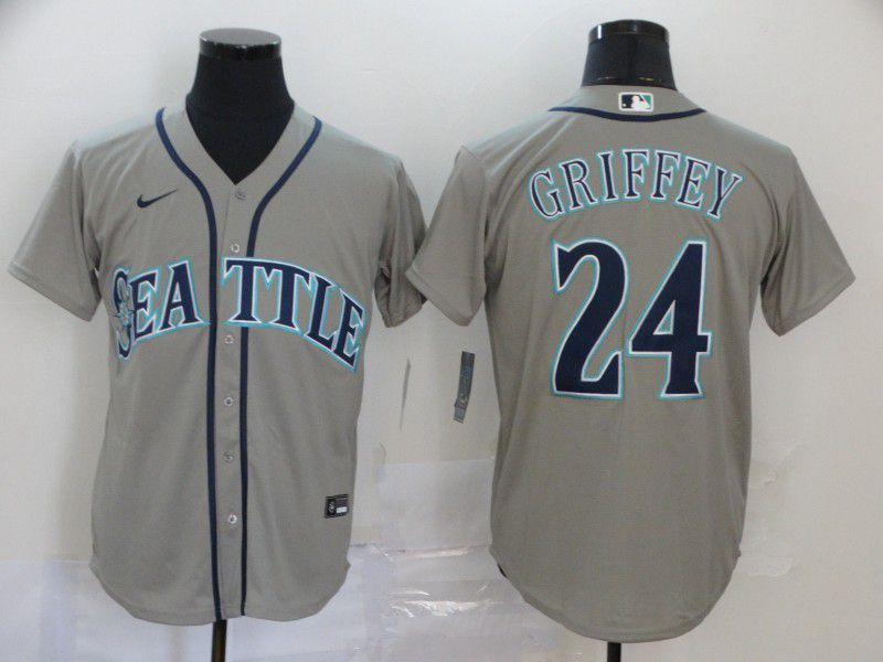 Men Seattle Mariners 24 Griffey Grey Nike Game MLB Jerseys