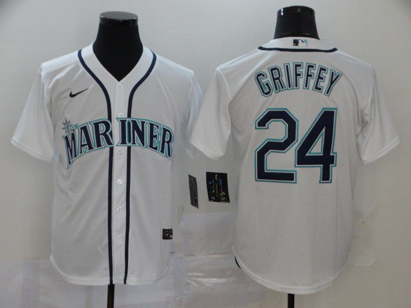 Men Seattle Mariners 24 Griffey White Nike Game MLB Jerseys
