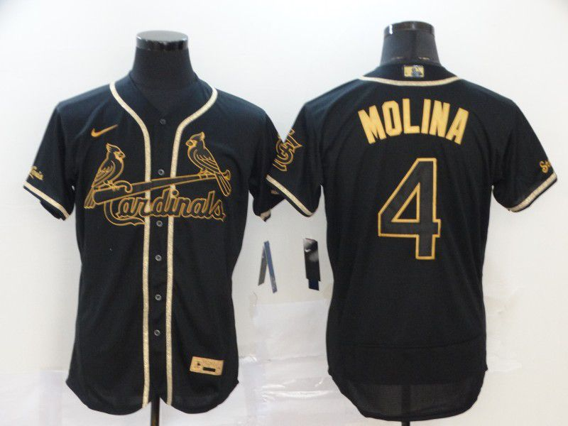 Men St.Louis Cardinals 4 Molina Black Nike Elite MLB Jerseys