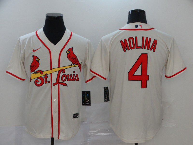 Men St.Louis Cardinals 4 Molina White Nike Game MLB Jerseys
