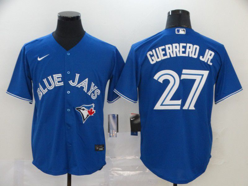Men Toronto Blue Jays 27 Guerrero jr Blue Game MLB Jerseys