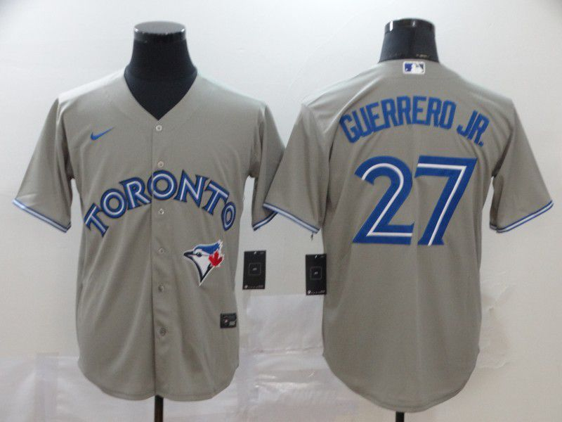 Men Toronto Blue Jays 27 Guerrero jr Grey Game MLB Jerseys