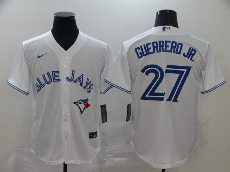 Men Toronto Blue Jays 27 Guerrero jr White Game MLB Jerseys