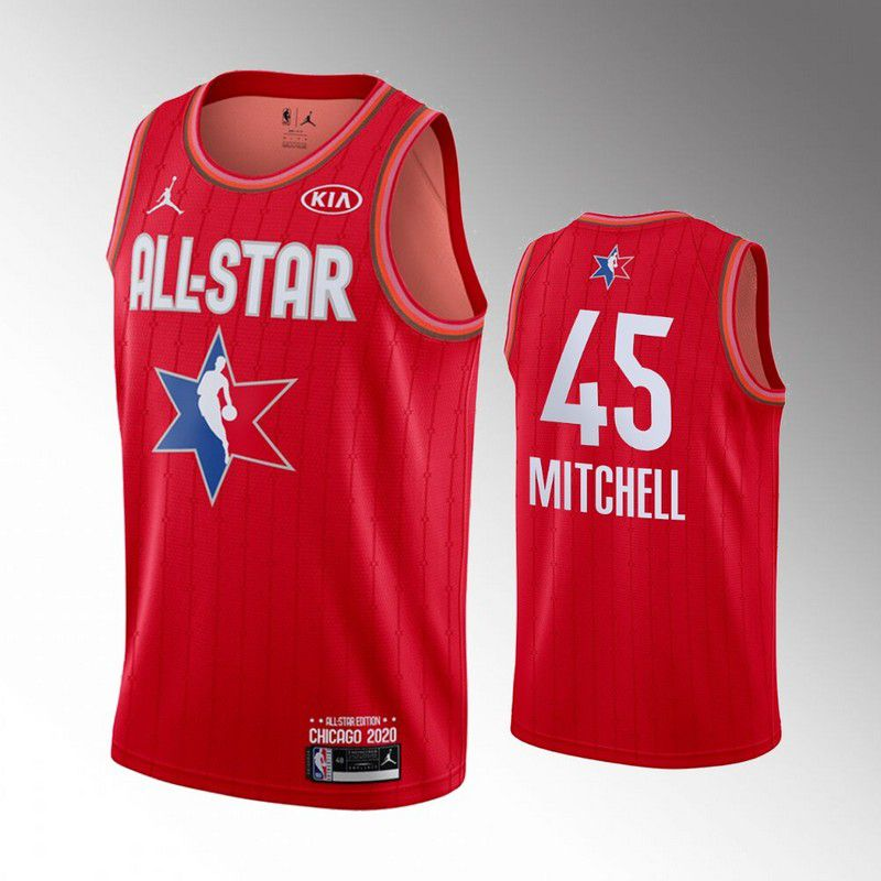 Men Utah Jazz 45 Mitchell Red 2020 All Star NBA Jerseys