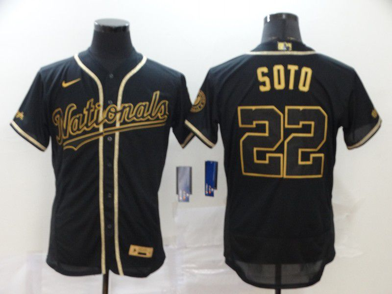 Men Washington Nationals 22 Soto Black Nike Elite MLB Jerseys