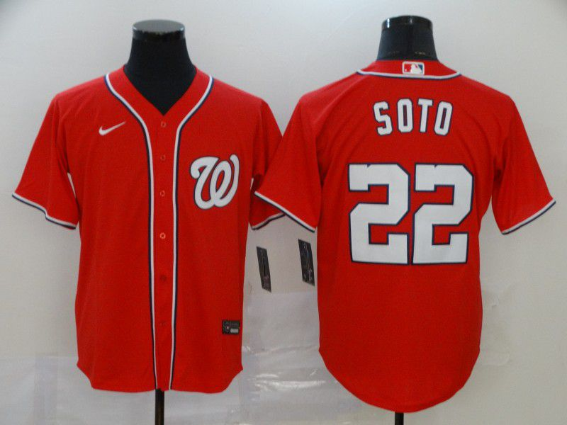 Men Washington Nationals 22 Soto Red Nike Game MLB Jerseys