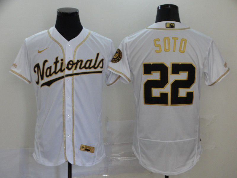 Men Washington Nationals 22 Soto White Retro gold character Nike Elite MLB Jerseys