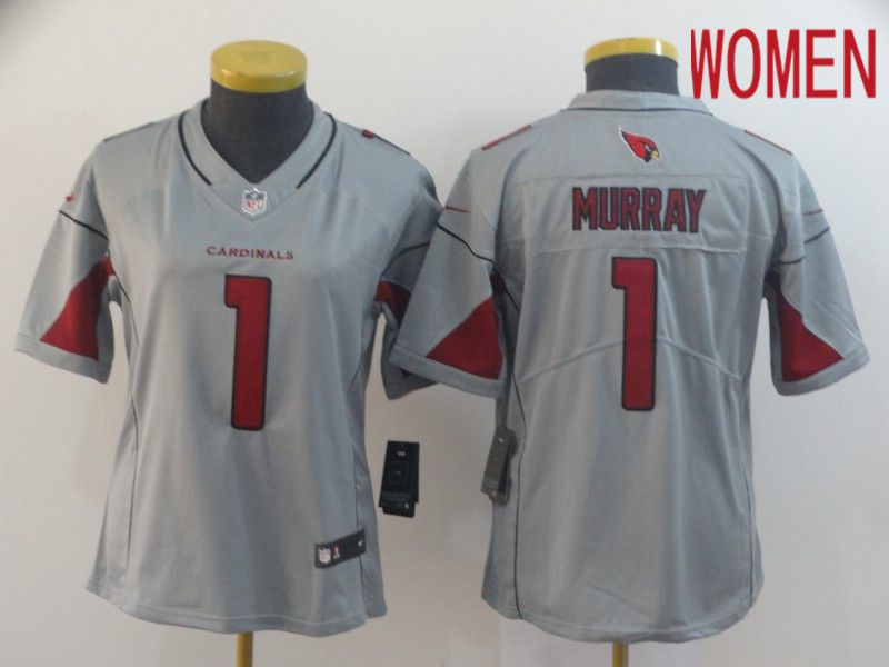 Women Arizona Cardinals 1 Murray Grey Nike Vapor Untouchable Limited NFL Jersey