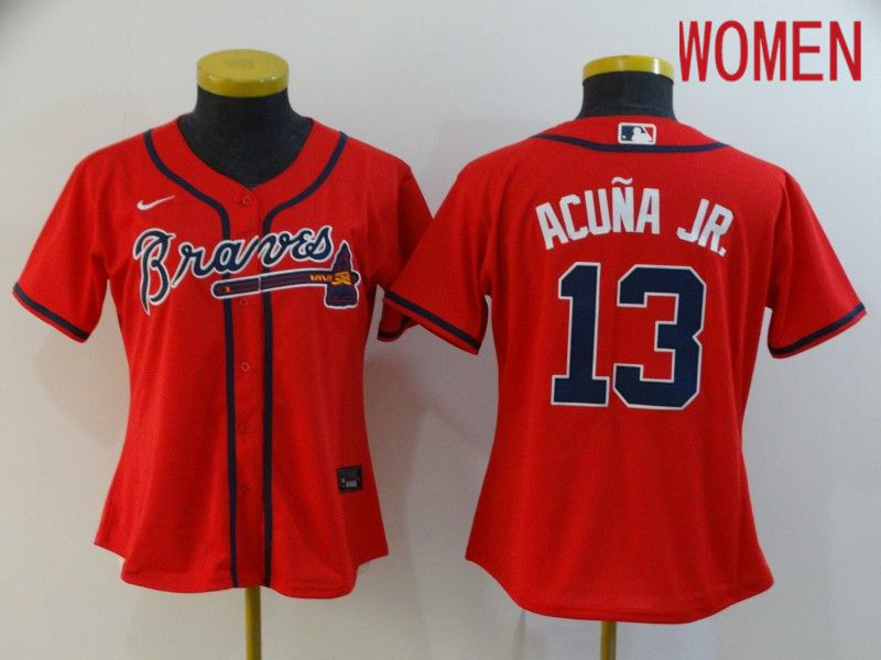 Women Atlanta Braves 13 Acuna jr Red Nike Game MLB Jerseys