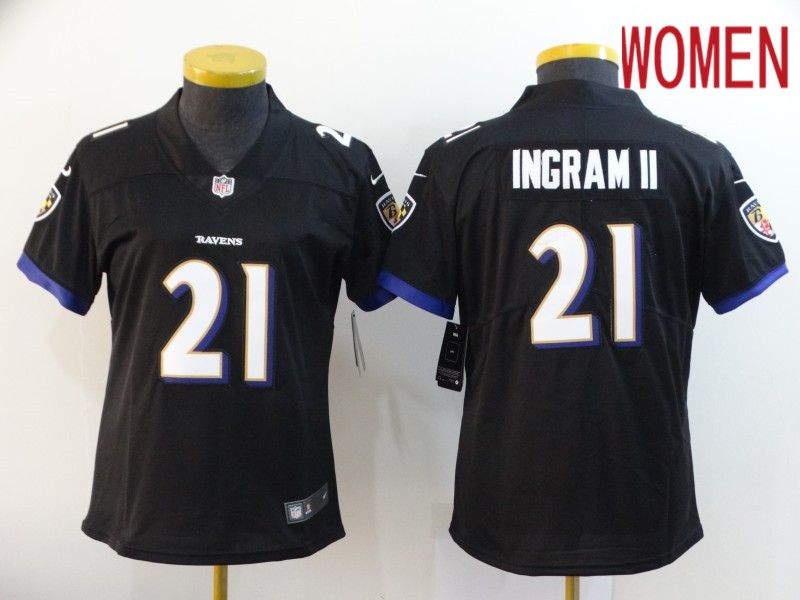 Women Baltimore Ravens 21 Ingram ii Black Nike Vapor Untouchable Limited NFL Jersey