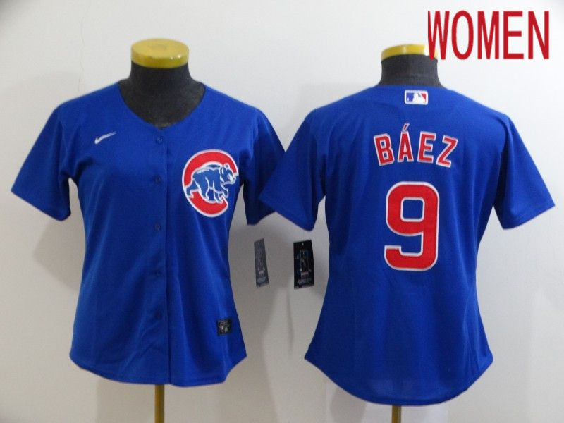 Women Chicago Cubs 9 Baez Blue Game Nike MLB Jerseys