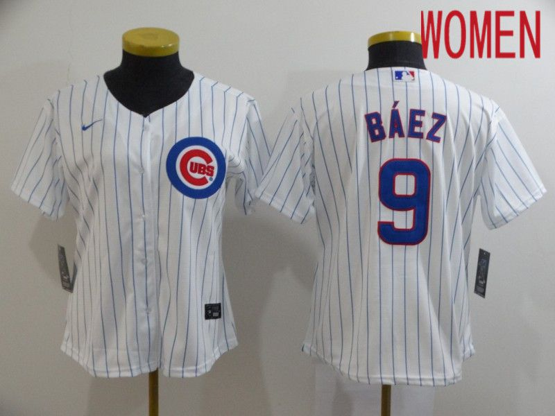 Women Chicago Cubs 9 Baez White Game Nike MLB Jerseys