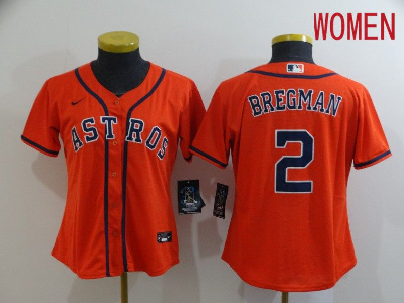 Women Houston Astros 2 Bregman Orange Nike Game MLB Jerseys