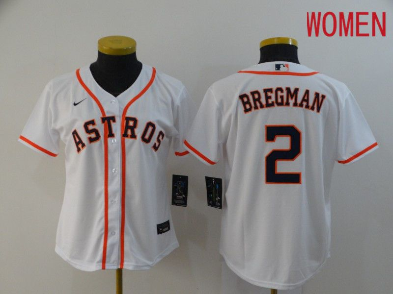 Women Houston Astros 2 Bregman White Nike Game MLB Jerseys