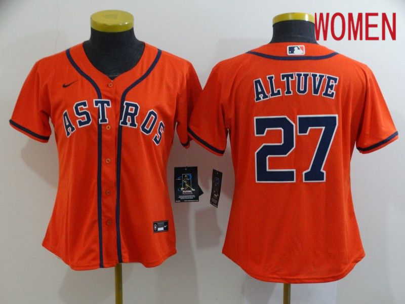 Women Houston Astros 27 Altuve Orange Nike Game MLB Jerseys