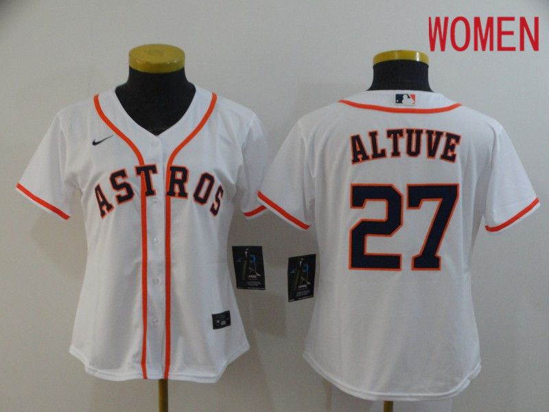 Women Houston Astros 27 Altuve White Nike Game MLB Jerseys
