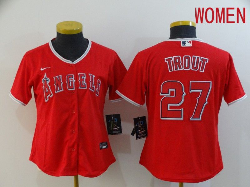 Women Los Angeles Angels 27 Trout Red Nike Game MLB Jerseys