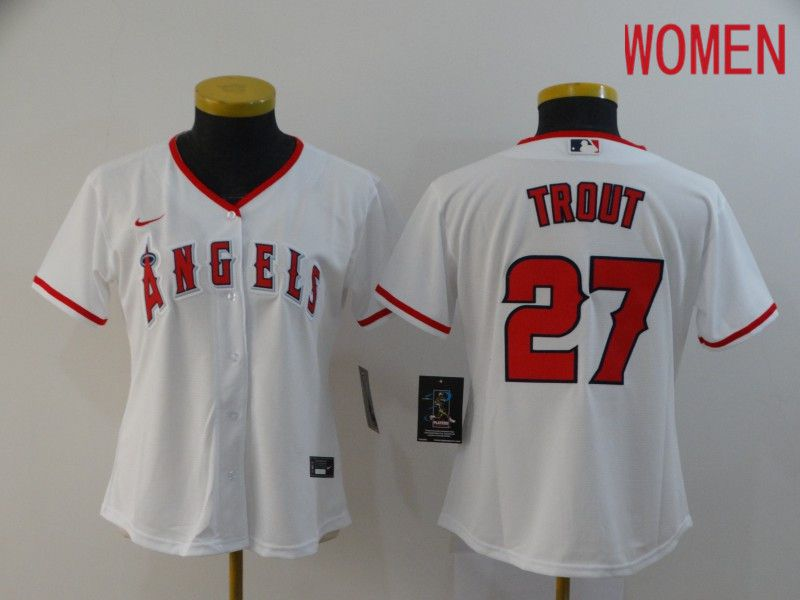 Women Los Angeles Angels 27 Trout White Nike Game MLB Jerseys
