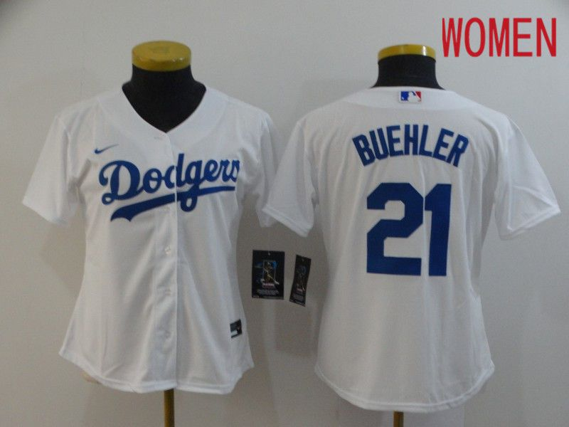 Women Los Angeles Dodgers 21 Buehler White Nike Game MLB Jerseys