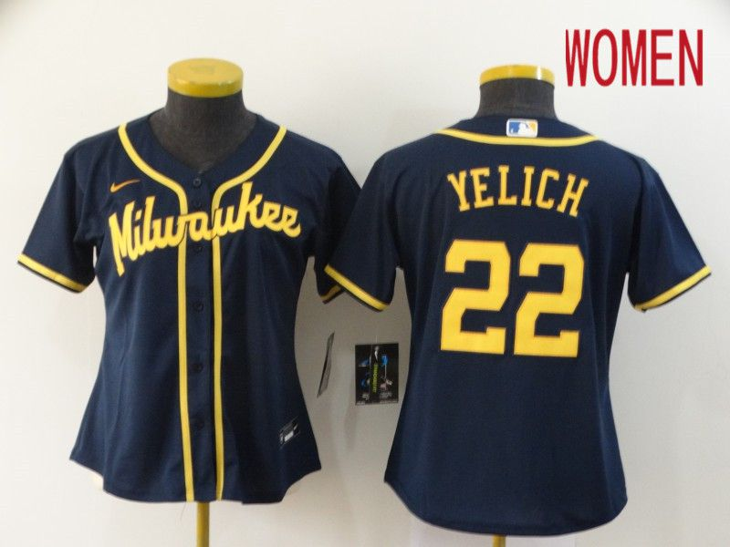Women Milwaukee Brewers 22 Yelich Blue Game Nike MLB Jerseys