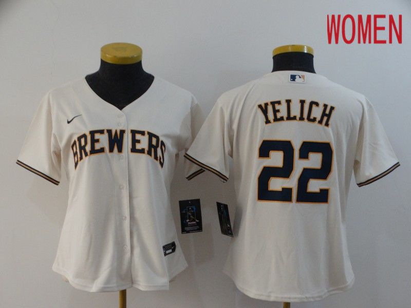 Women Milwaukee Brewers 22 Yelich Cream Nike Game MLB Jerseys