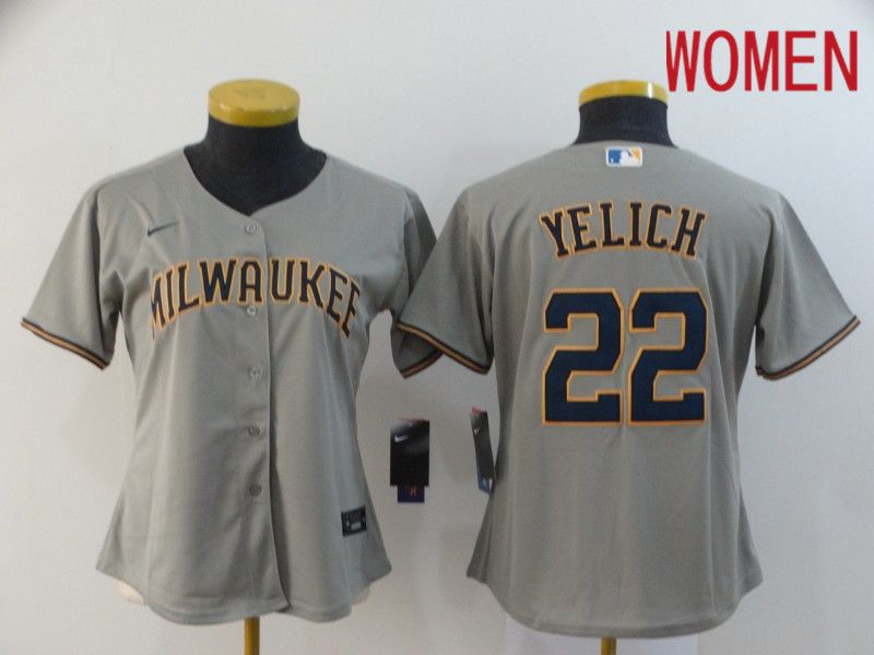Women Milwaukee Brewers 22 Yelich Grey Nike Game MLB Jerseys