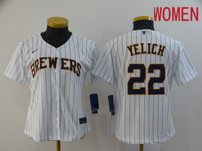 Women Milwaukee Brewers 22 Yelich White Nike Game MLB Jerseys