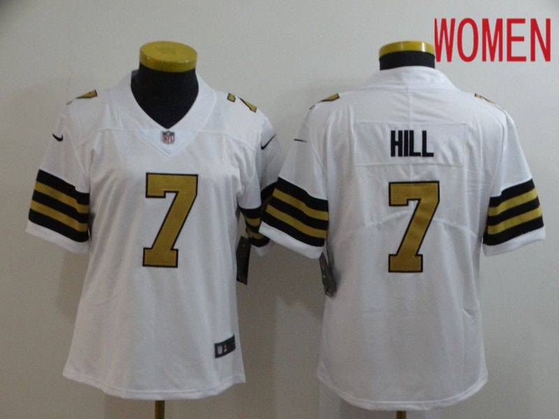 Women New Orleans Saints 7 Hill White Nike Vapor Untouchable Limited NFL Jersey