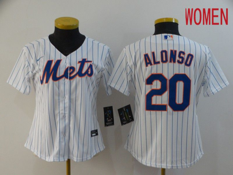 Women New York Mets 20 Alonso White Nike Game MLB Jerseys