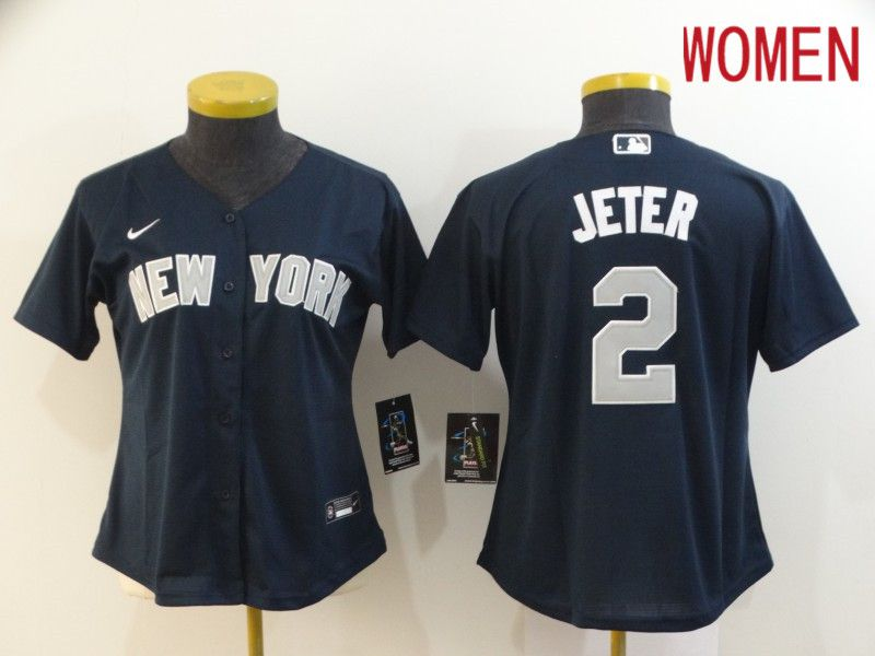 Women New York Yankees 2 Jeter Blue Nike Game MLB Jerseys