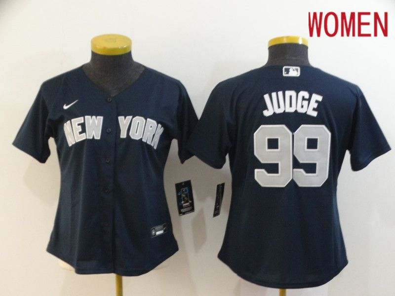 Women New York Yankees 99 Juoge Blue Nike Game MLB Jerseys