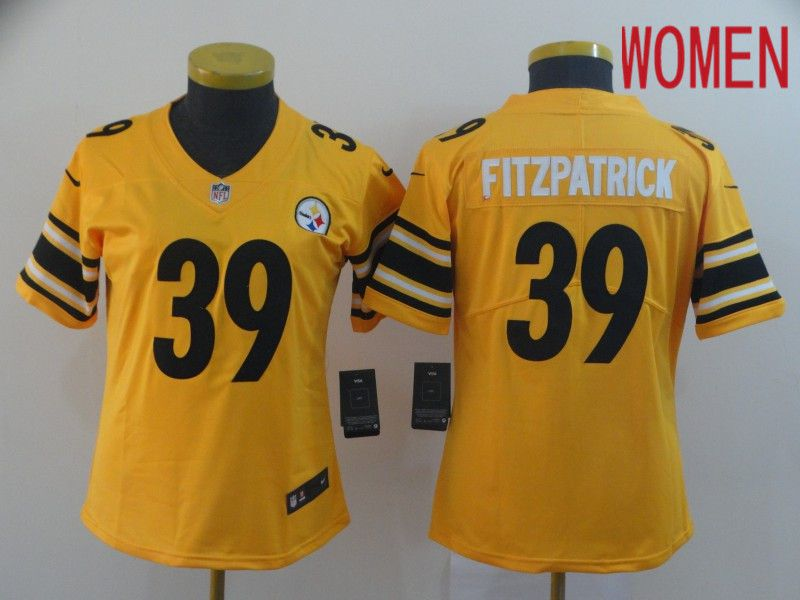 Women Pittsburgh Steelers 39 Fitzpatrick Yellow Nike Vapor Untouchable Limited NFL Jersey