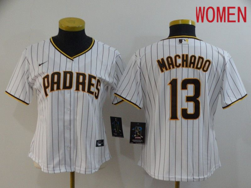 Women San Diego Padres 13 Machado White stripes Nike Gme MLB Jerseys