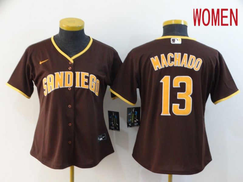 Women San Diego Padres 13 Machado brown Nike Game MLB Jerseys