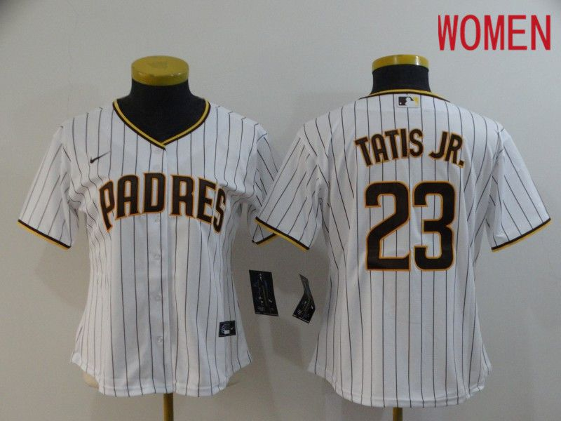 Women San Diego Padres 23 Tatis jr White stripes Nike Game MLB Jerseys