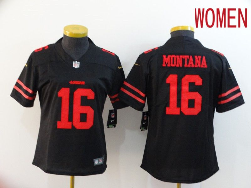 Women San Francisco 49ers 16 Montana Black Nike Vapor Untouchable Limited NFL Jersey