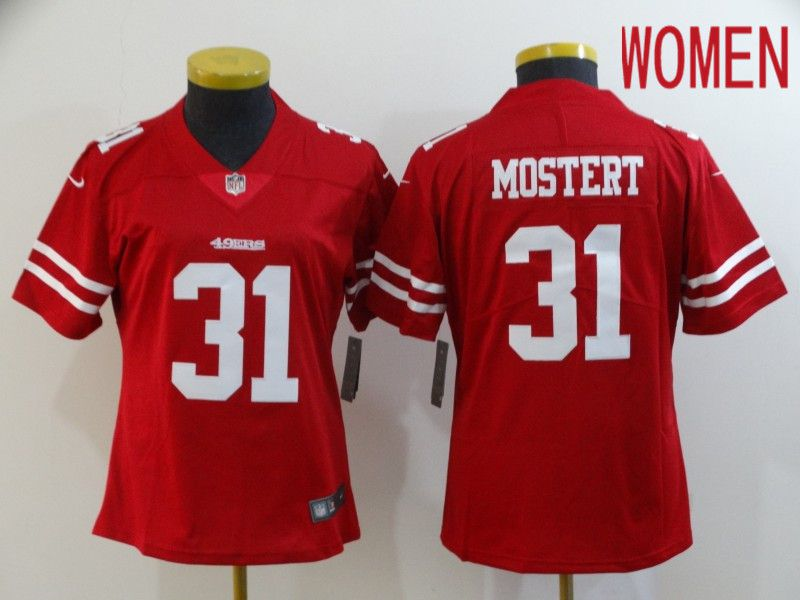 Women San Francisco 49ers 31 Mostert Red Nike Vapor Untouchable Limited NFL Jersey