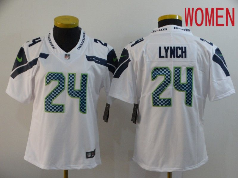Women Seattle Seahawks 24 Lynch White Nike Vapor Untouchable Limited NFL Jersey
