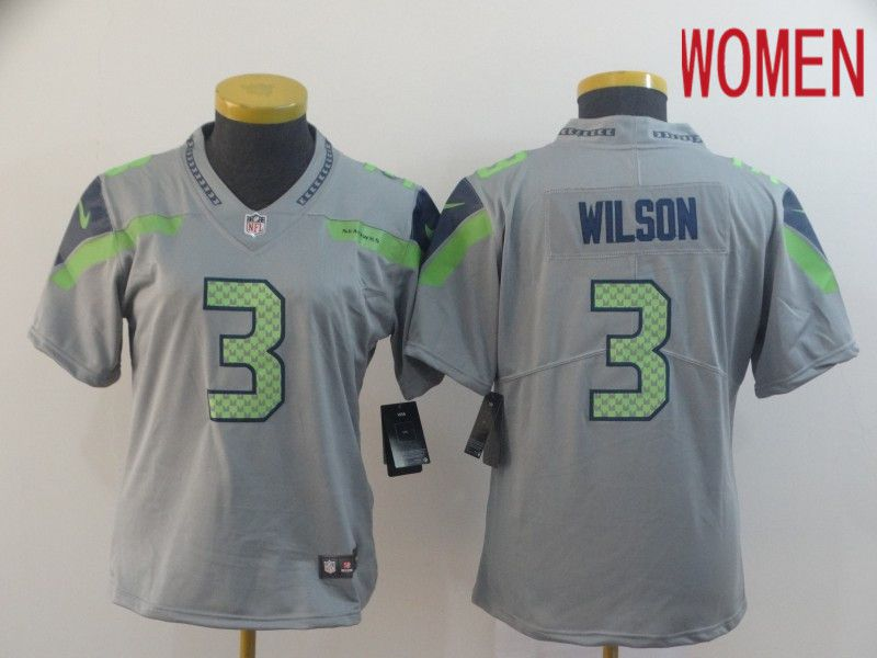 Women Seattle Seahawks 3 Wilson Grey Nike Vapor Untouchable Limited NFL Jersey
