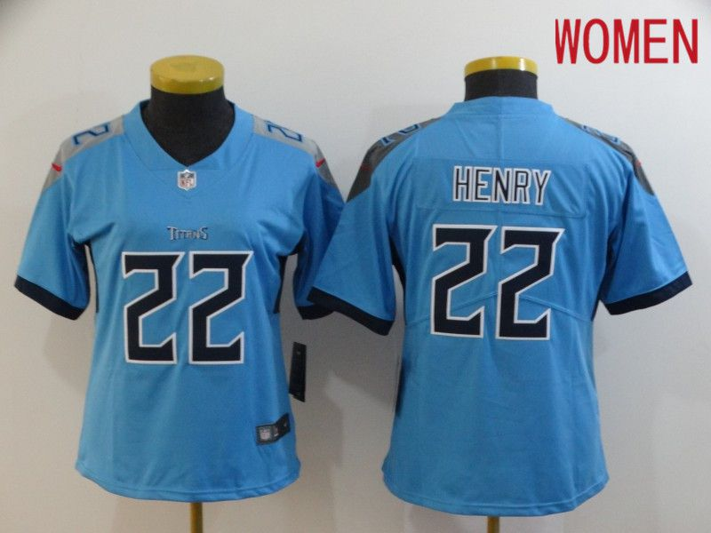 Women Tennessee Titans 22 Henry Light Blue New Nike Vapor Untouchable Limited NFL Jersey
