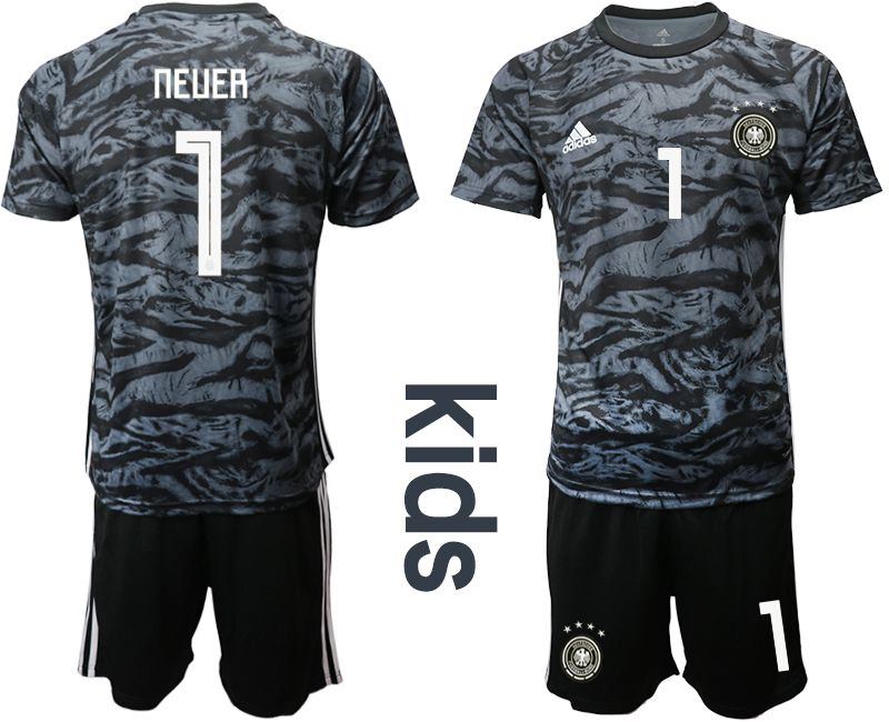 Youth 2019-2020 Season National Team Germany black goalkeeper 1 Soccer Jerseys