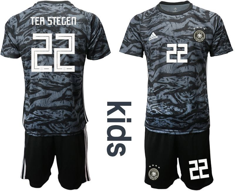 Youth 2019-2020 Season National Team Germany black goalkeeper 22 Soccer Jerseys