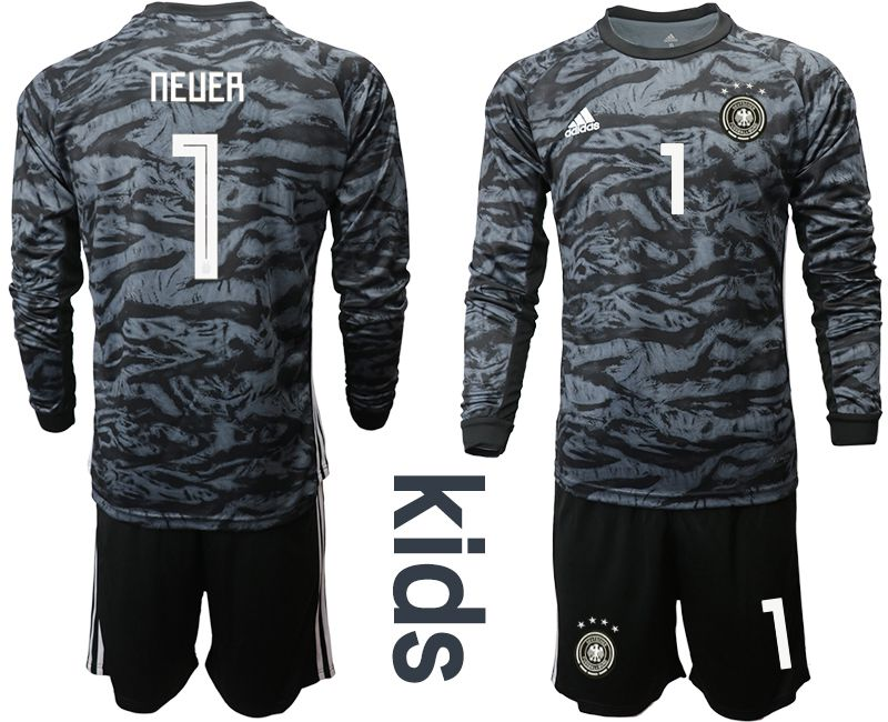Youth 2019-2020 Season National Team Germany black long sleeve goalkeeper 1 Soccer Jersey